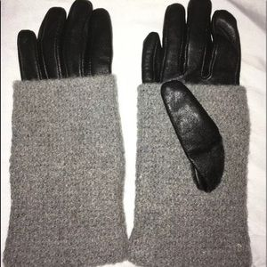 Anthropologie Black Leather Gray Wool Gloves